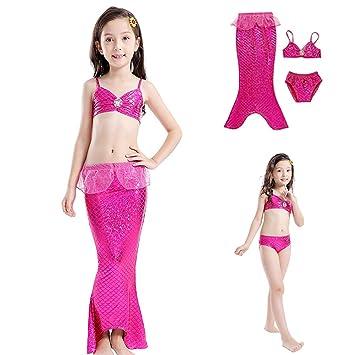Traje de baño para niñas 3pcs Sirena para Falda Abierta ...