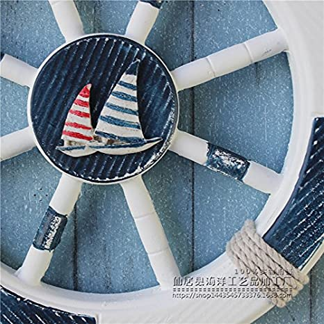 Anchor QQA Mur Cr/éative De Style M/éditerran/éen 45Cm De Gouvernail Bleu pour Faire Le Vieux D/écorations pour La Maison