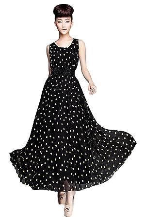Demarkt® New Boho Womens Party Evening Polka Dots Dress Ball Gown Chiffon Vogue Maxi Sundress