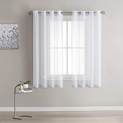 lot de 2 rideaux voilages blanc panneaux de fenetres voile de fenetre avec solide a oeillets pour salon chambre decoration 140 cm x 175 cm