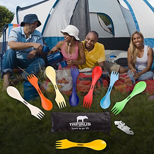 Tapirus Spork to Go V8 Set | 8 Colorful Durable & BPA Free Tritan Sporks | Spoon, Fork & Knife Combo Utensils Flatware Mess Kit for Camping & Outdoor Activities | with Bottle Opener & Carrying Case by Tapirus (Image #7)