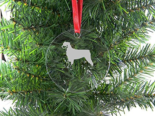 Personalized Custom Rottweiler Clear Acrylic Hanging Christmas Tree Ornament with Red Ribbon
