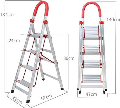 Stepladder Escalera plegable portátil de aleación de aluminio de 3 pasos / 4 pasos/escalones, Taburete con peldaños, Escalera de tijera, Escalón plegable, Escalera telescópica, Escalera de extensión: Amazon.es: Bricolaje y herramientas