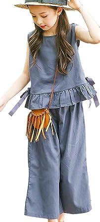dc2913a3c3f8d (ティーラヨシン) Trayosin 子供 セットアップ ガウチョパンツ ブラウス 上下セット フレア ノースリーブ ワイドパンツ 袖