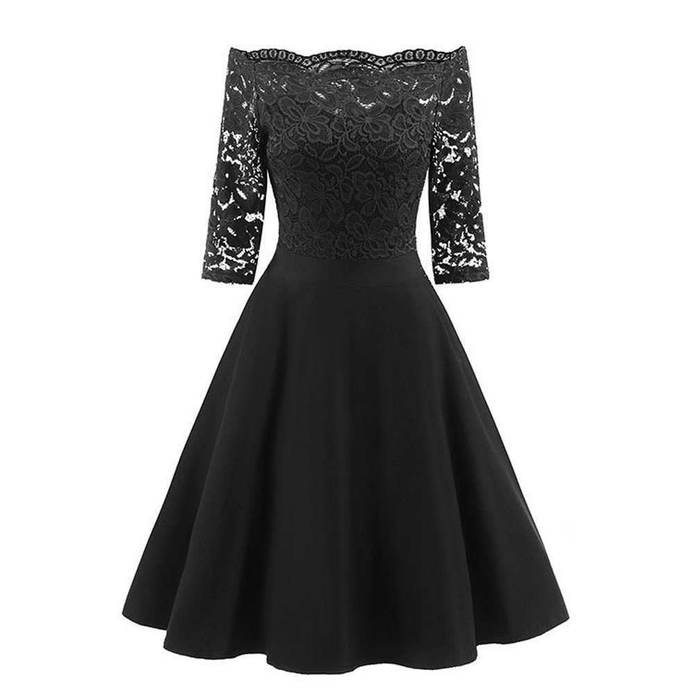 Dresses For Women Party Wedding Liraly Fashion New Vintage Lace Patchwork Off Shoulder Cocktail Party Retro Swing Dress (Black ,US-8 /CN-L)