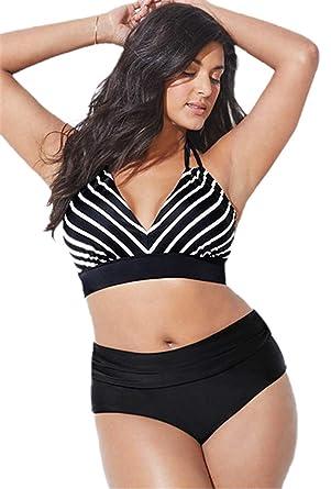 comprare popolare f397f 48e53 chuangminghangqi Donna Bikini a Vita Alta Imbottito Taglie Forti Costume da  Bagno Due Pezzi Costumi Donna Mare