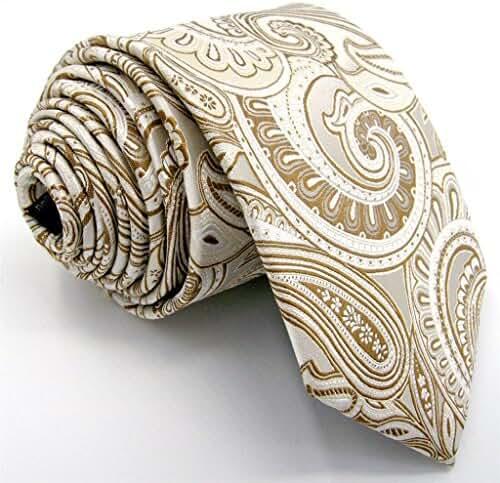 Shlax&Wing Ties for Men Cream Beige Paisley Necktie Silk Wedding