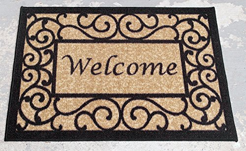 Ottomanson Ottohome Collection Rectangular Welcome Doormat (Machine-Washable/Non-Slip), Beige, 20