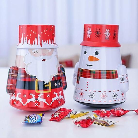 Golosinas Y Chocolate Caja De Almacenamiento Decorativo Vacaciones Tarros Galletas Santa Claus 1pc Navidad Latas De Galletas De Santa Claus Y Mu/ñeco De Tarro del Caramelo De Caramelo