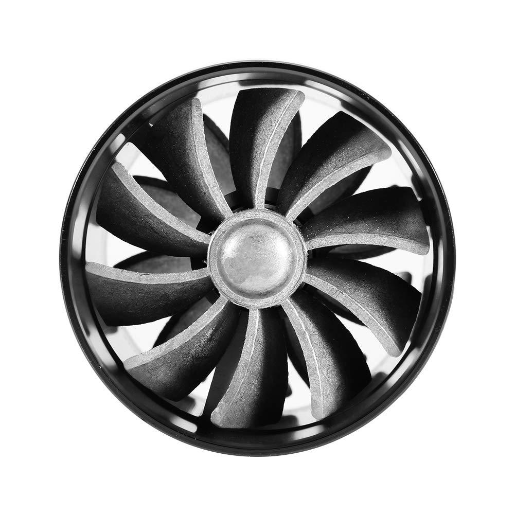 Noir Double chargeur de turbine de ventilateur dadmission dair de voiture Super chargeur /économiseur dessence de carburant Turbo