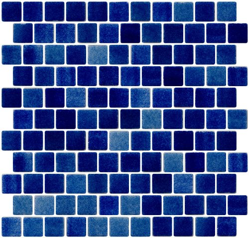 Susan Jablon Mosaics - 1 Inch Cobalt Blue Dapple on White Recycled Glass Tile Reset In Offset Layout