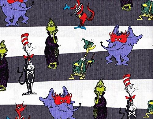 1 Yard Spooktacular Seuss by Robert Kaufman Dr. Seuss Cat in the Hat Horton Grinch 100% Cotton Fabric ADE-15305-282 Spooky -
