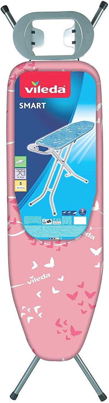 Vileda Smart - Tabla de planchar con sistema de seguridad Click Stop, ideal para espacios reducidos, Rosa, altura ajustable hasta 95 cm, dimensiones: 132 x 40 cm