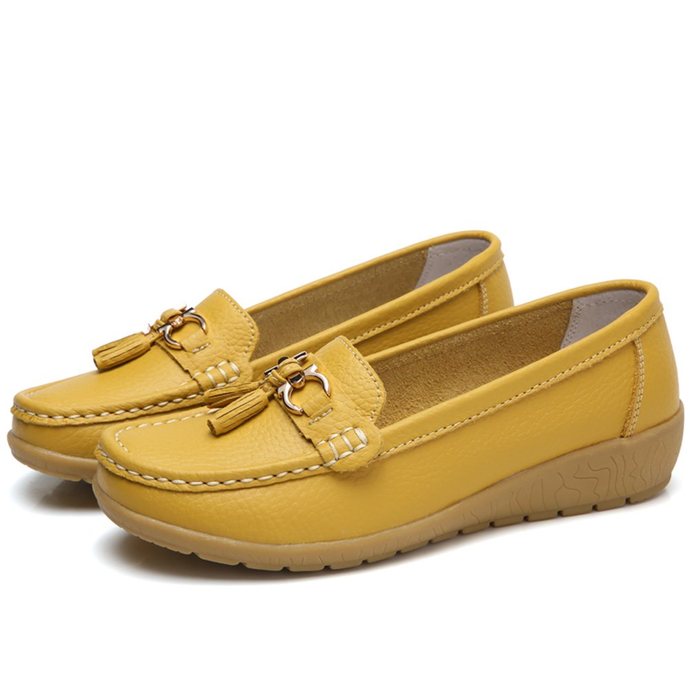 NineCiFun Womens Leather Tassel Loafers Slip on Work Shoes(10.5 B(M) US,Yellow)
