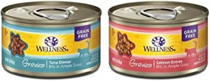 Wellness Gravies Natural Grain Free Wet Canned Cat Food, Tuna Paired With Salmon (Two Packs Of 12, 3-Ounce Cans)