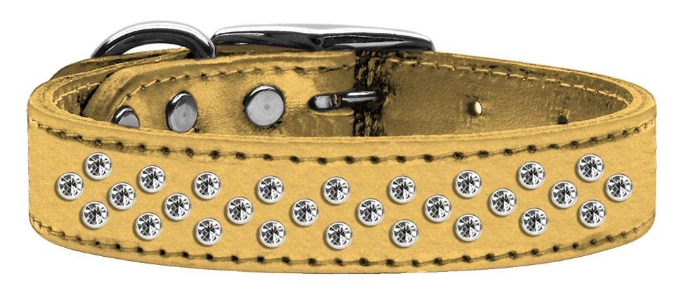 18\ Mirage Pet Products Sprinkles Clear Crystal Metallic Leather gold Dog Collar, 18