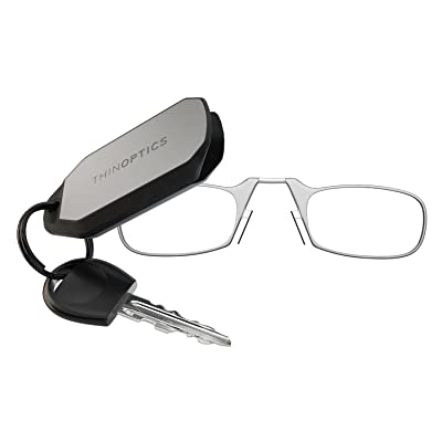 thinoptics keychain reading glasses clear frame 200 strength