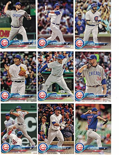 Chicago Cubs / Complete 2018 Topps Series 1 & 2 Baseball 25 Card Team Set! Includes 25 bonus Cubs Cards!