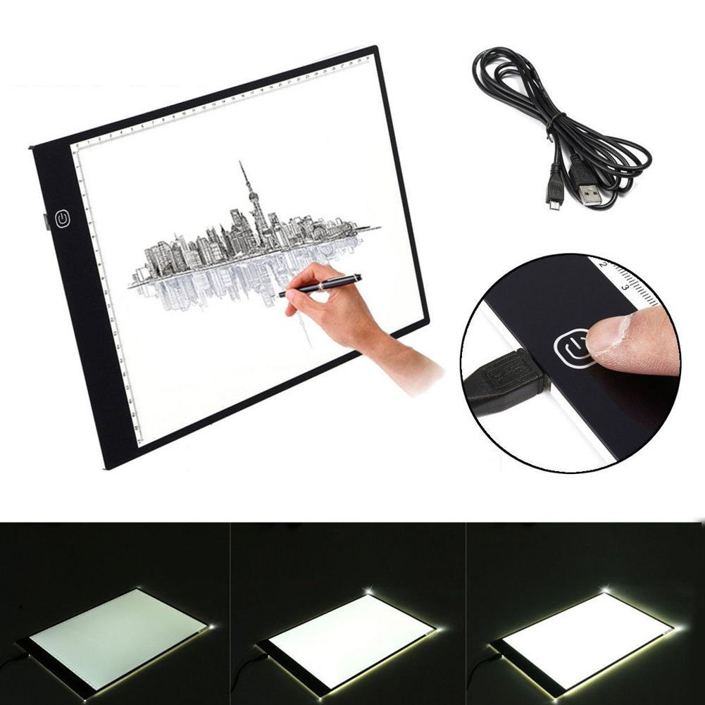 Drawing Light Box, A3 LED Ultra Slim Art Craft Drawing Tracing Tattoo Light Box Pad Board Lightbox with USB Cable, Handbag and Document Clip Greensen