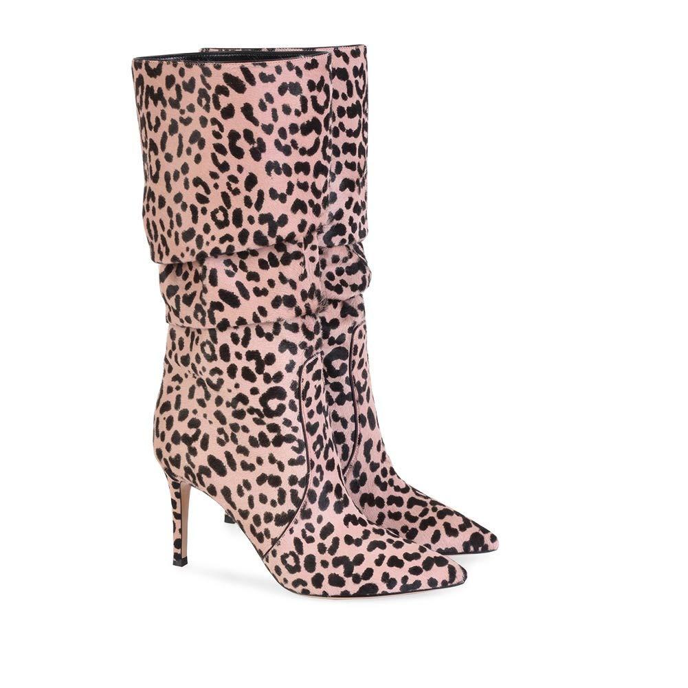 HNStiefel Damen Mittler-Kalb Knöchel Stiefel Stilett Hoch Hoch Hoch Absatz Leopard Samt Abend Party Arbeit Herbst Strecken Spitzschuh Pumps Schuhe ec7206
