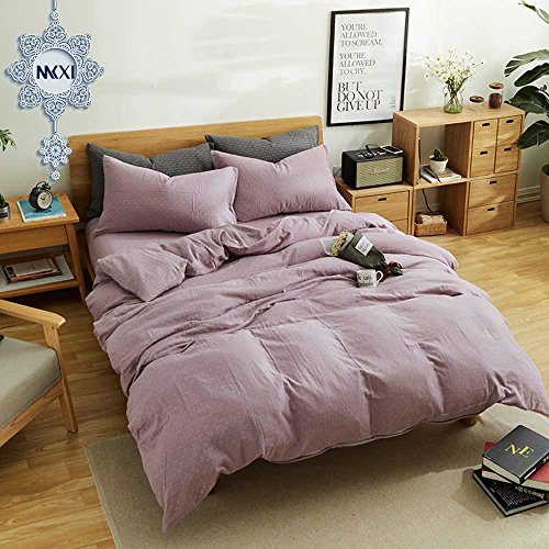 MKXI Simple Bedroom Collection 3 Pieces Purple King Size Duvet Cover Set,Cross Printed (Cover King Duvet Purple)