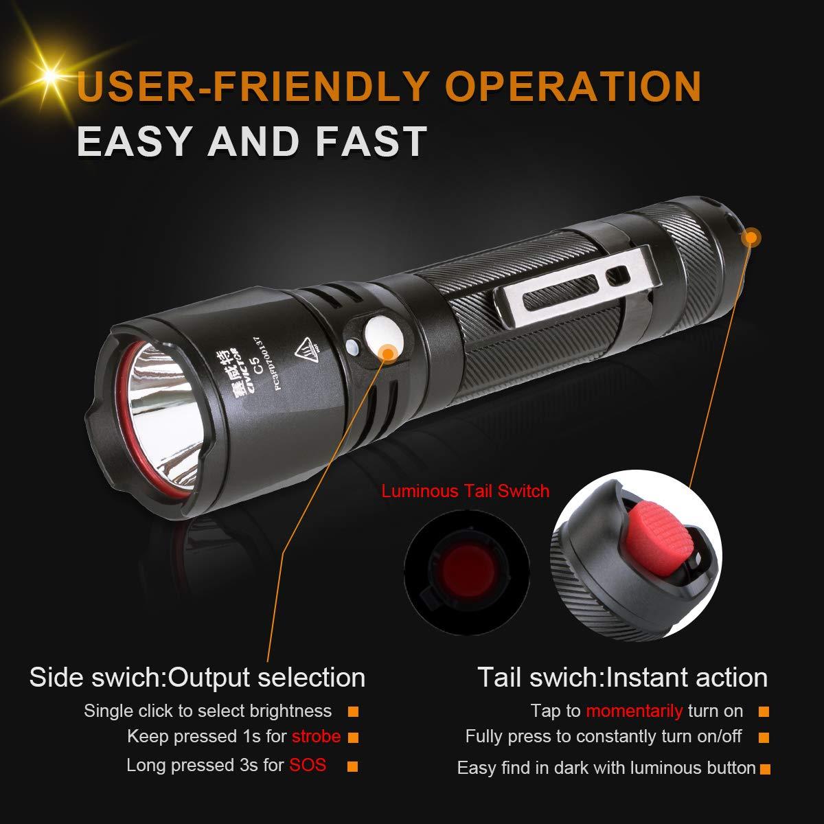 C5 - keine Batterie Kleine Taschenlampe Sehr Helle Reichweite 275m Camping & Outdoor
