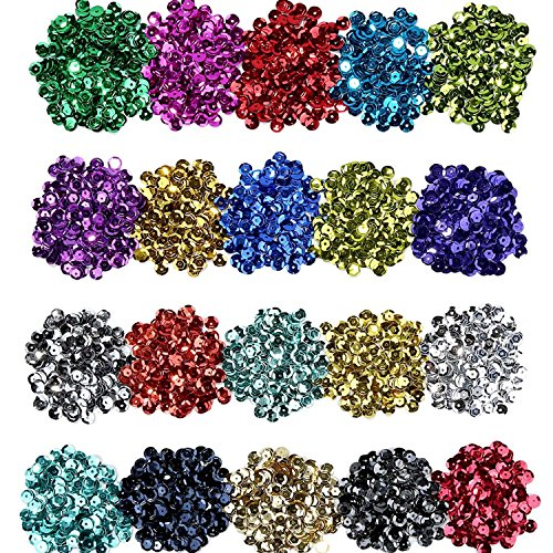 Shappy Loose Sequins Bulk Cup Sequin Iridescent Spangles for DIY Arts Crafts Making, 6 mm, 100 Gram (20 Colors)