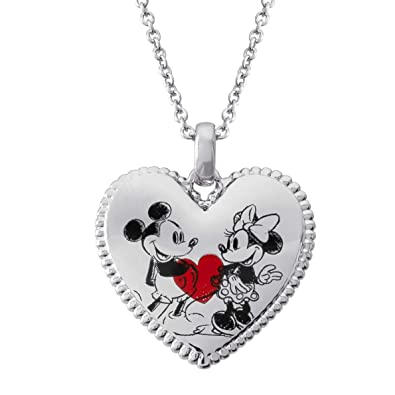79633564a Amazon.com: Disney Classic Mickey and Minnie Mouse Heart Pendant Necklace,  Mickey's 90th Anniversary: Jewelry
