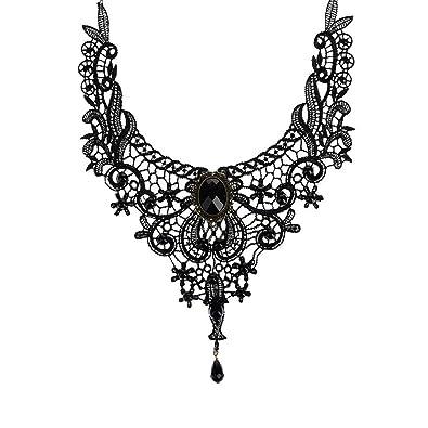 3a3b8f557b47 BESTIM INCUK Victorian Steampunk Style Lace Gothic Collar Lolita Beads Pendant  Choker Necklace