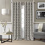 Elrene Home Fashions Grayson Room Darkening Ironwork Print with Silver Grommets Window Panel 52-Inch by 84-Inch, Gray