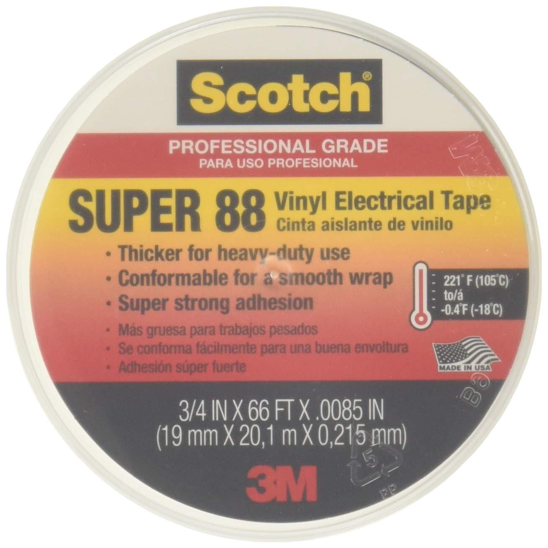 """Scotch Super 88 Electrical Tape, 3/4"""" x 66' x 0.0085"""", 10 per Case"""