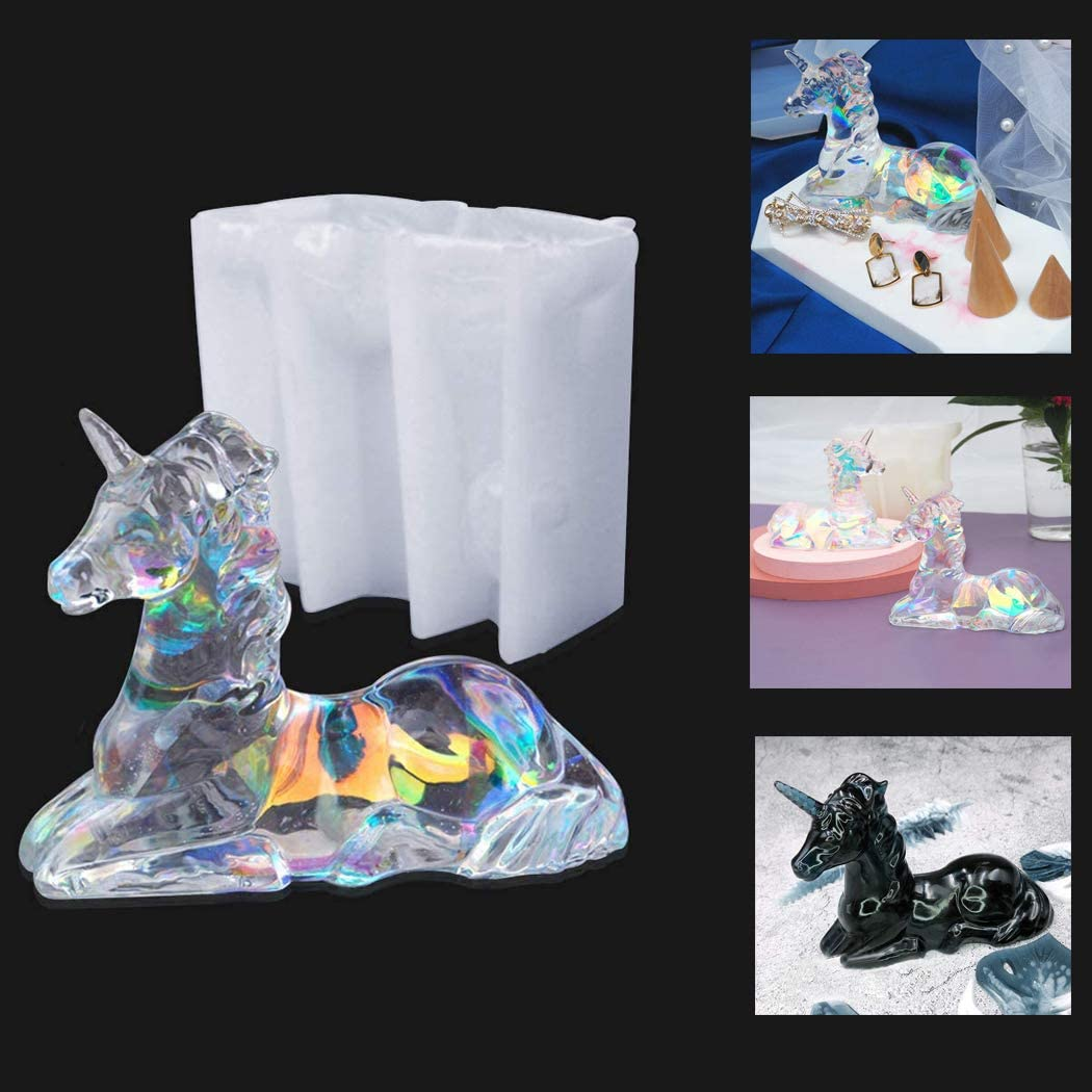 3D Unicorn Resin Mold Agate Crystal Epoxy Casting Silicone Mould Jewelry Making Mould for Home Desk Decoration Crafts DIY Gift
