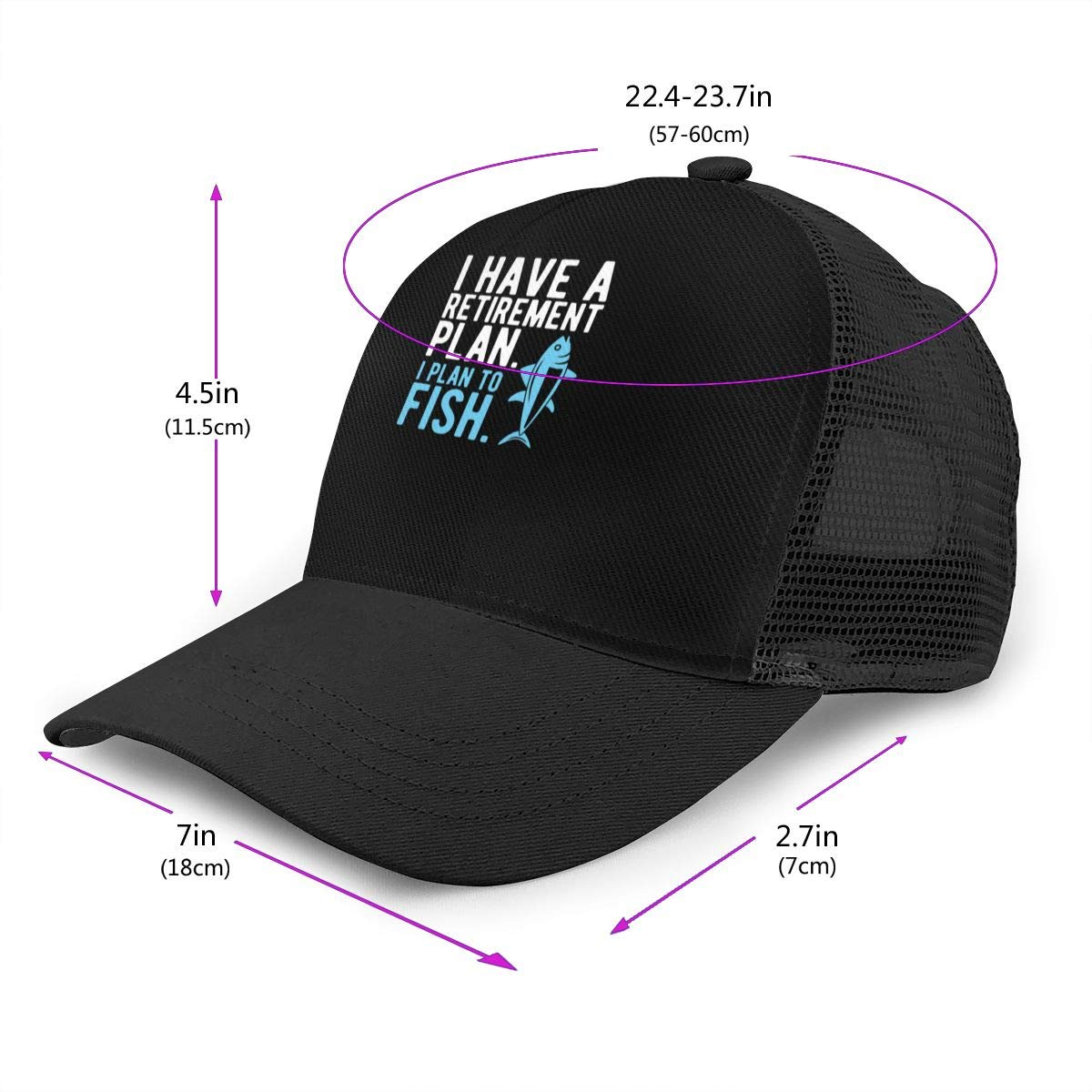 I Have A Retirement Plan I Plan to Fish Logo Mesh Baseball Cap Dad Hat Adjustable Size Ventilation Sunscreen Cap