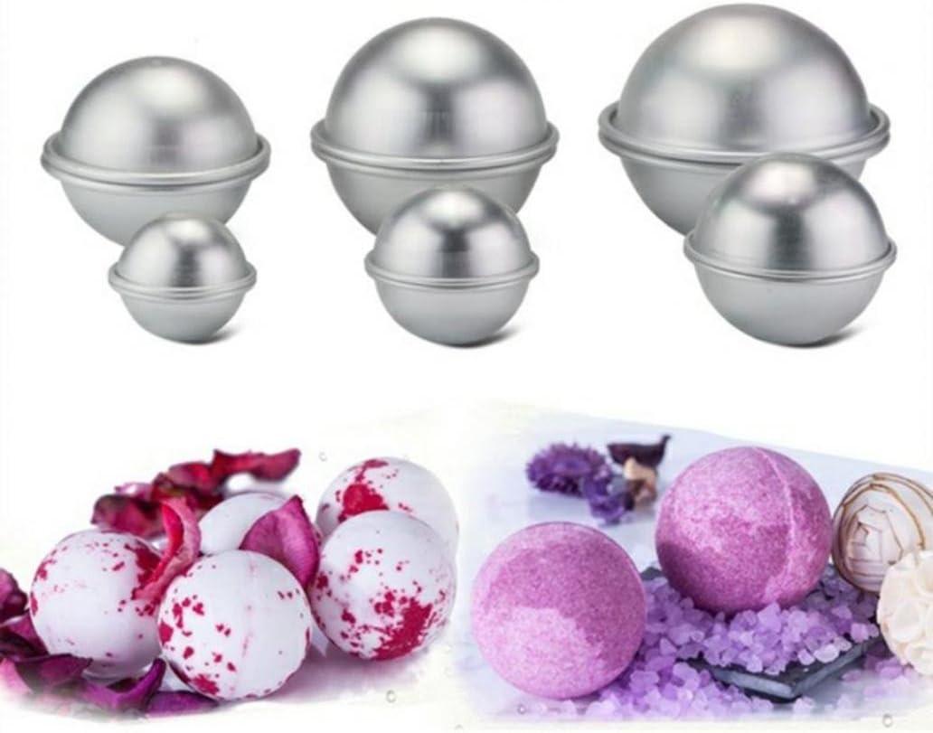 kangql 2PCS 4.5//5.5//6.5/cm 3D in lega di alluminio Homemade Round Sphere DIY Bath Bomb Mold 1# Silver