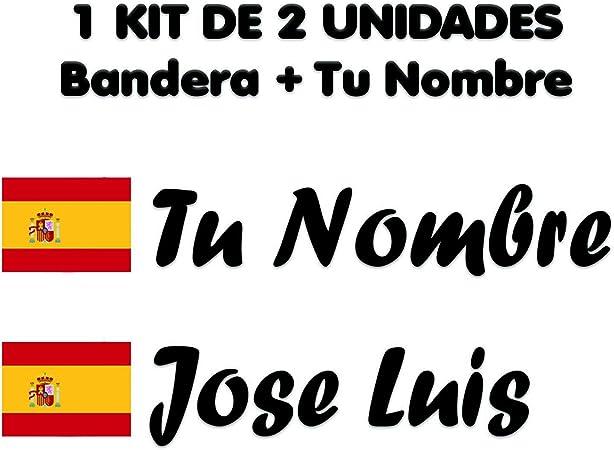 Pegatina Vinilo Bandera España + tu Nombre - Bici, Casco, Pala De Padel, Monopatin, Coche, Moto, etc. Kit de Dos Vinilos (Pack Fuentes 2): Amazon.es: Coche y moto