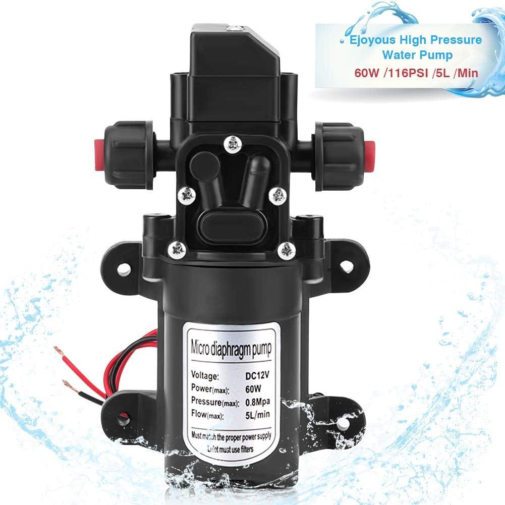 Bomba de agua de alta presión, 12 V, 60 W, bomba de presión de alta presión, membrana autoaspirante, bomba de agua de 5 l/min, alta presión, membrana autoaspirante, bomba de agua para aspersores