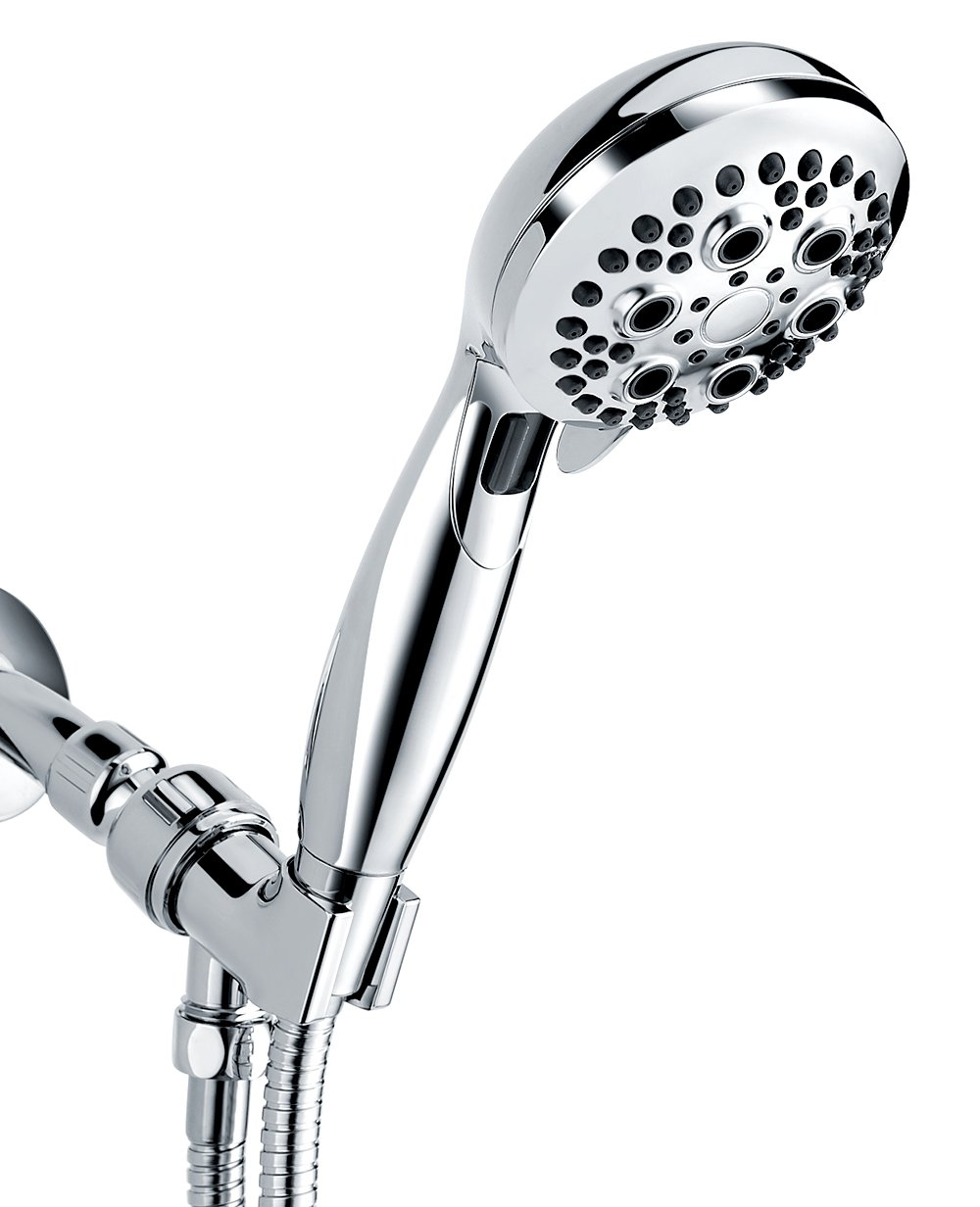 Handheld Shower Head, Wassern High Pressure 9 Setting 74 Jets Intake Air Rainfull Massage Spa Water Saving Trickle Button Flexible 60'' Stainless Steel Hose Angle Adjustable Bracket 3.5'' Chrome