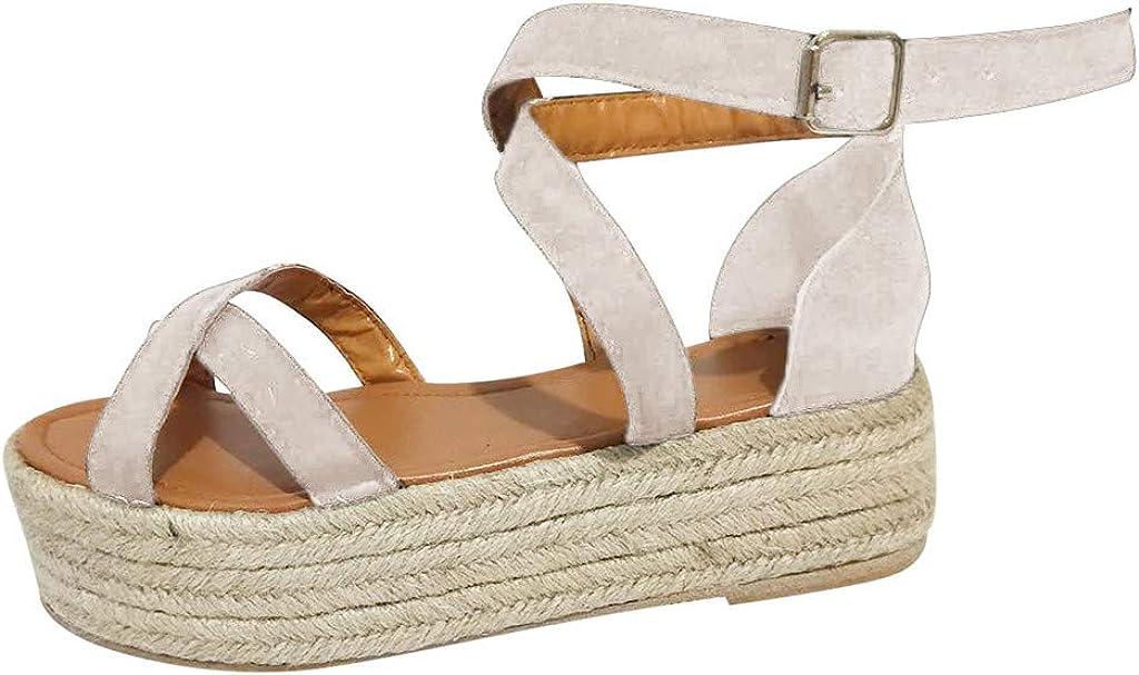 refulgence Wome Ladies Roma Pumps Straw Non-Slip Platform Thick Bottom Flat Shoes Sandals