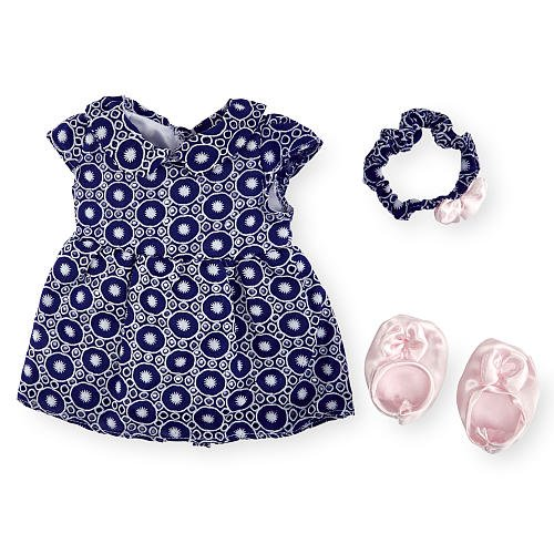Dress Me Clothing (You & Me Occasion Outfit for 16-18 inch Doll - Blue Geometric Print)