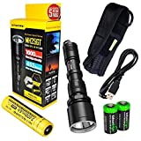Nitecore MH25GT CREE LED 1000 Lumen USB Rechargeable Flashlight, 18650 rechargeable Li-ion battery, USB charging cable and Holster with 2 X EdisonBright CR123A lithium Batteries For Sale