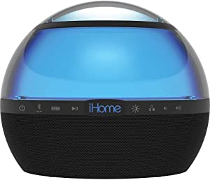 iHome iBT75 Color Changing Bluetooth Rechargeable Speaker - Wireless Speaker W/ Stereo & Voice Control Capability - Digital Echo Canceling Speakerphone - 6 Color Effect Modes - Up To 9 Hours Of Music