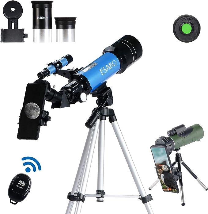 ESAKO Telescopio para ni/ños y principiantes 70mm telescopios astron/ómicos port/átiles con tel/éfono Monte Luna filtro y 3X lente Barlow