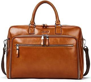 Aktentasche Herren Damen Ölwachs Echte Leder Vintage Businesstasche für 15.6 Zoll Laptop Arbeiten Umhängetasche Braun