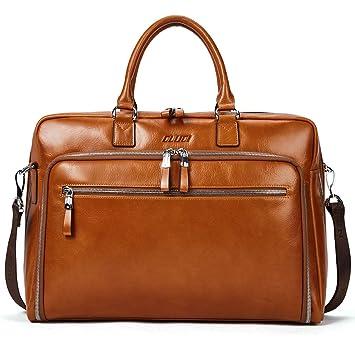 83db54cb4a45c Aktentasche Herren Damen Ölwachs Echte Leder Vintage Businesstasche für 15.6  Zoll Laptop Arbeiten Umhängetasche Braun