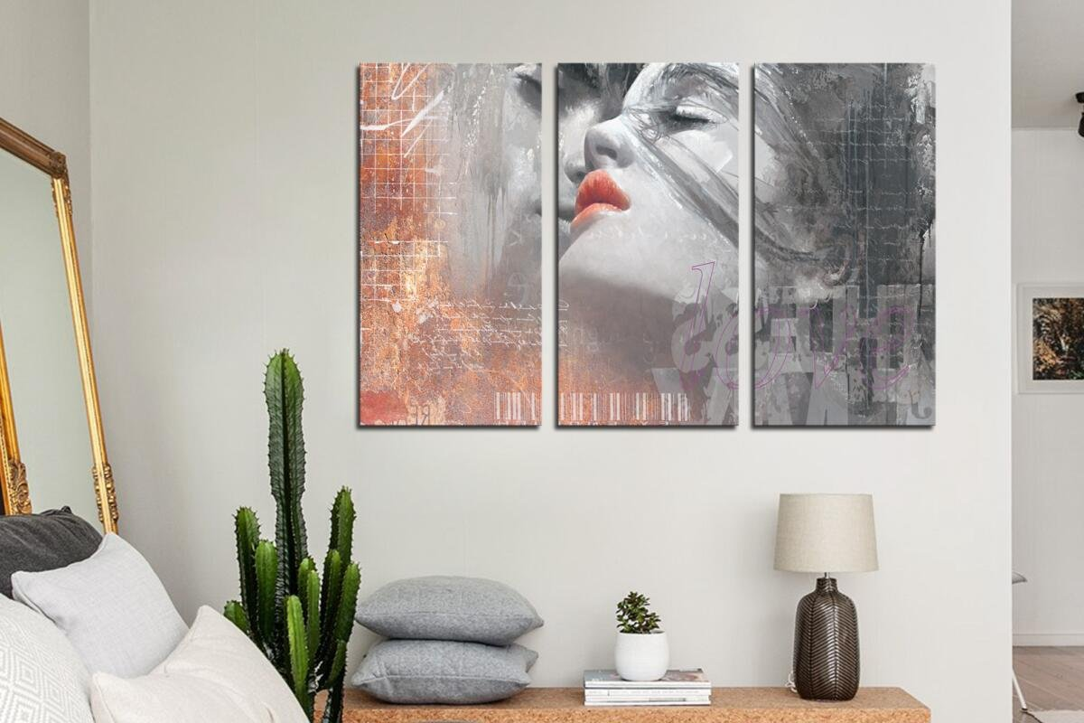 HLJ ART Red Lips Love Kissing Couples Picture Print Art Modern Giclee Canvas Artwork Stretched and Framed, Ready to Hang by HLJ ART (Image #5)