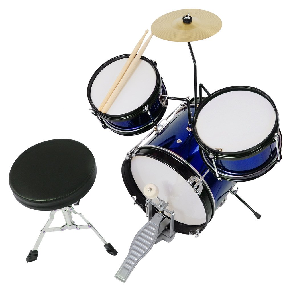 3pcs Junior Kid Child Drum Set Kit Sticks Throne Cymbal Bass Snare Boy Girl Blue by AW