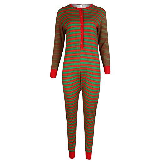 7fa62b92bc77 Rucan Mommy &Daddy&Me Striped Romper Jumpsuit Family Pajamas Sleepwear  Christmas Outfit (Red