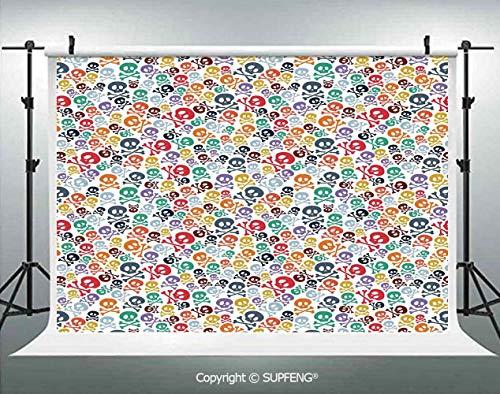 Photo Backdrop Halloween Theme Colorful Skulls and Crossbones 3D Backdrops for Interior Decoration Photo Studio Props -