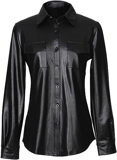 Yying Camisa Metálica Brillante Sexy para Mujer Clubwear PU ...