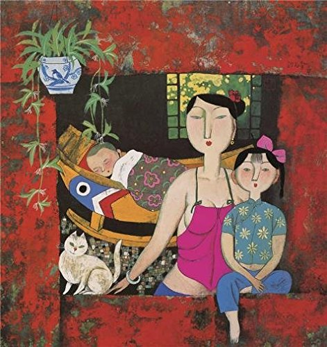 'Hu Yongkai,The Family,21th Century' Oil Painting, 30x32 Inch / 76x81 Cm ,printed On Perfect Effect Canvas ,this Amazing Art Decorative Prints On Canvas Is Perfectly Suitalbe For Living Room Decor (Yongkai Asian Print)